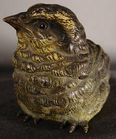 Vienna Bronze sitting bird inkwell. c. 1900.