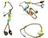 """Parure bronze collier et bracelet """" Bord de mer """" perles céramique poisson ,perles howlite papillon et feuille turquoise, breloque coquillage : Parure par les-creations-de-melletincelle"""