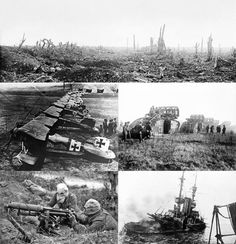 Clockwise from the top: The aftermath of shelling during the Battle of the Somme, Mark V tanks cross the Hindenburg Line, HMS Irresistible sinks after hitting a mine in the Dardanelles, a British Vickers machine gun crew wears gas masks during the Battle of the Somme, Albatros D.III fighters of Jagdstaffel 11