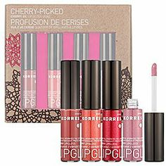 Korres Cherry-Picked Cherry Oil Lip Gloss Quad by Korres. $22.85. Light scent of cherries, applies smooth, is non-sticky, moisturizes the lips. Long lasting and provides a semi-sheer finish. Korres Cherry-Picked Cherry Oil Lip Gloss Quad. 4 full sized (0.20oz) tubes in a range of shades. Korres Cherry-Picked Cherry Oil Lip Gloss quad is a set of 4 full sized (0.20oz) tubes with a range of shades. It has a light scent of cherries, applies smooth, is non-sticky, moisturizes the lip...