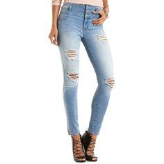"""Charlotte Russe Med Destroy Denim Refuge """"Hi-Waist Super Skinny""""... ($16) ❤ liked on Polyvore featuring jeans, pants, med destroy denim, high waisted distressed jeans, ripped jeans, skinny jeans, high rise skinny jeans and stretch skinny jeans"""