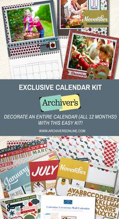 Decorate an entire 12-month calendar with this kit you'll only find at Archiver's!