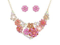 bright pink flowers necklace