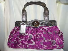 AUTHENTIC COACH Large Velvet Optic Pink/Silver Handbag Purse F15517 GORGEOUS