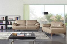 Divani Casa Bandon Modern Taupe Leather Sofa Set
