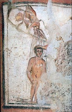 Ancient Christian iconography of angels in the catacombs Early Christian, Christian Art, Ancient Rome, Ancient Art, Tempera, Fresco, Baptism Of Christ, Catholic Answers, Christian Symbols