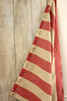 Wonderful French country 19th century striped linen curtain textile ~ wonderful, durable linen ~ www.textiletrunk.com