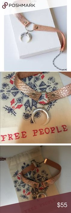Free People horn and leather pink choker Beautiful real leather choker in metallic pink with silver-dipped white horn. Adjustable clasp. I love this but my old lady neck just won't make it work!! Serious offers only please. Free People Jewelry Necklaces