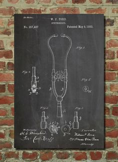 Stethoscope Patent Wall Art Poster by PatentPrints on Etsy, $6.99
