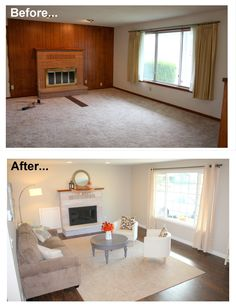 1960's living room makeover remodel before and after. New hardwood floor, window, white washed brick fireplace, painted fireplace grate, furniture, beige walls. Removed wood panel wall. Minimalist living room with color.