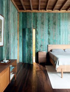 stained wooden walls.