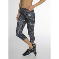 Sprint into fitness in these abstract camo print capri leggings. Forget about chaffing, flat-lock stitching reduces irritation. A smooth, wide waistband with an interior pocket lets you feel secure wh