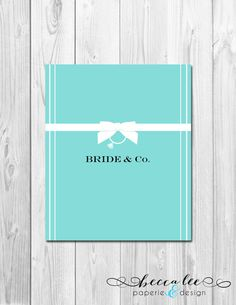 INSTANT DOWNLOAD - Bride & Co Candy Bar Wrapper - Tiffany Inspired Bridal Shower - DIY - Printable on Etsy, $4.00