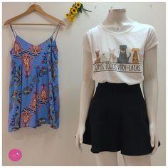 Escolha a produção: Macaquinho estampado ou saia e t-shirt... #Vemprazas
