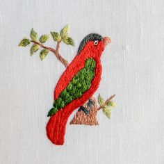 Embroidery Neck Designs, Bird Embroidery, Embroidery Patterns, Long And Short Stitch, Embroidered Bird, Three Birds, Bird Prints, Miniatures, Quilts