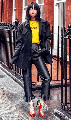 Wool Coat + Graphic T-Shirt + Black Trousers