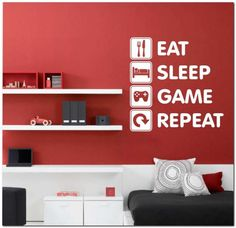 Room painting designs walls for boys eat sleep game repeat vinyl wall lettering video gamer decal . Game Room Lighting, Deco Gamer, Teen Boy Rooms, Teenage Bedrooms, Kids Rooms, Teen Boys, Gamer Bedroom, Bedroom Boys, Bedroom Red