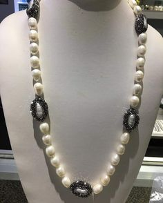Simple black Stone Encrusted White Necklace