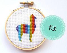 Mini Llama Cross Stitch Kit - Funny Cross Stitch - Modern Cross Stitch - Cross Stitch Pattern - Apartment Decor - DIY Hoop Art - Alpaca