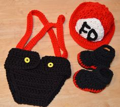 Baby Firefighter Fireman Hat Boots Diaper Cover Photo Prop Set Newborn Red Black #Handmade