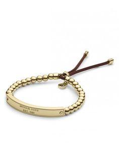 Michael Kors - Bracelete regulável dourado de contas com logotipo - Bijuterias - Acessórios