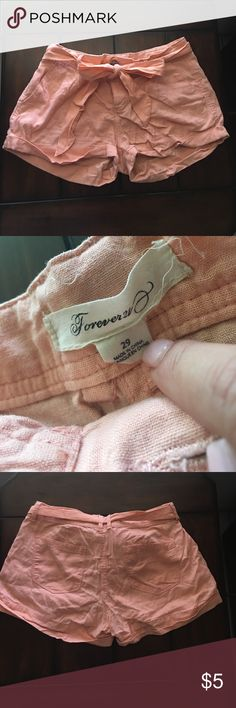 Forever 21 linen shorts Pre-owned and loved ❤️ still in great condition. Very pretty peachy color. Comes with belt. Needs a new home Forever 21 Shorts