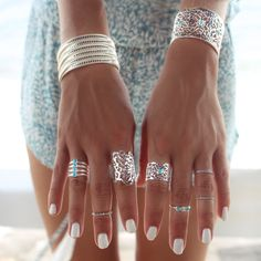 Stacked bracelets and rings for a cool boho street style look