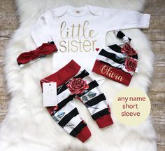 Little Sister Outfit Newborn Baby Girl Outfit Coming Home Outfit Personalized Outfit Baby Girl Outfit Baby Shower Gift Red Roses by LLPreciousCreations on Etsy https://www.etsy.com/listing/562852425/little-sister-outfit-newborn-baby-girl