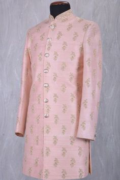 Dusty Pink Raw Silk Zari Embroidered Wedding Sherwani-SH356