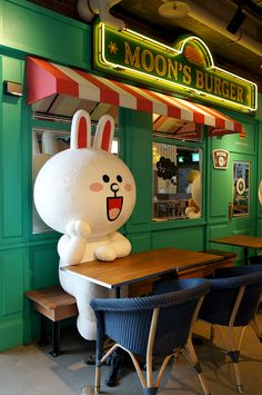Brunch at Line Friends Cafe, Itaewon. Friends Cafe, Line Friends, Kawaii, My Coffee Shop, Cute Love Gif, Exhibition Stand Design, Photo Zone, Cool Cafe, Snowy Day
