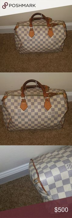 Authentic Louis Vuitton Speedy 30 Handbag 100%authentic bag the piping on the two corners left and right side is coming out a little.  See pics for detail. Damier Azur Canvas color... Louis Vuitton Bags