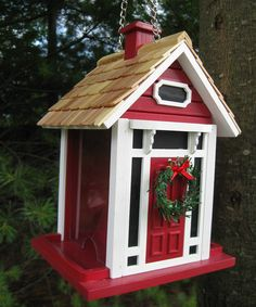 Red Christmas Cottage Bird Feeder