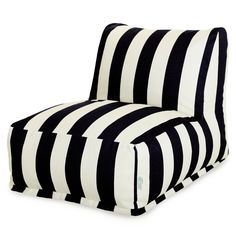 Black Vertical Stripe Bean Bag Chair Lounger by Majestic Home at Contemporary Modern Furniture Warehouse Bean Bag Lounger, Bean Bag Sofa, Outdoor Bean Bag Chair, Bean Bag Lounge Chair, Bean Bag Furniture, Cool Bean Bags, Patio Lounge Chairs, Dining Chairs, Ikea Chairs