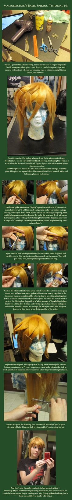 Wig Styling 101: Spiking  by *Malindachan - her spikes always look so clean.  Interesting choice of glue
