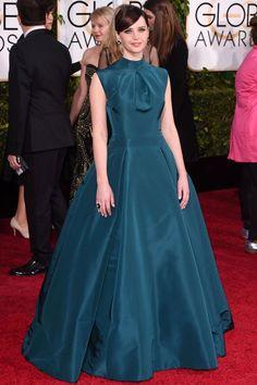 Felicity Jones in a teal Christian Dior ballgown. #Golden Globes 2015