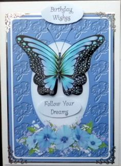 follow your dreams 2 on Craftsuprint designed by Gail Collins - made by Mary Murphy - Printed on good quality card paper, cut out and added to the card with foam sticky pads. I added silver peel off around the edges and decorated a little bit also added the caption.  - Now available for download!