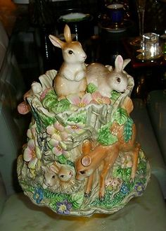 Charming Fitz and Floyd Woodland Springs Cookie Jar with Deer Rabbits