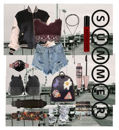 """""""Untitled #43"""" by luisaisluv on Polyvore featuring Moschino, Topshop, Converse, Olivia Burton, Maybelline, NYX, WithChic and bomberjackets"""