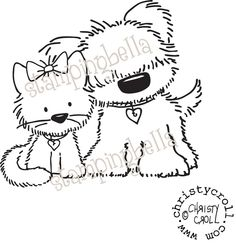 Kitty and Puppy LOVE :)  Frankie and Fiona Stamping Bella Unmounted Rubber Stamp CC237