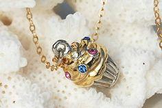 Gold Cupcake Necklace 14k Gold Filled Swarovski by ornatetreasures