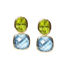 Peridot and blue topaz Drop Earrings in yellow gold. Gee Woods. www.geewoods.com