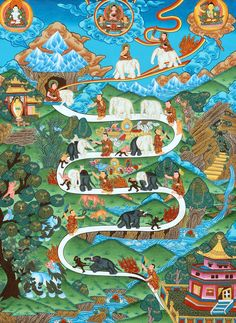 Tibetan Buddhist Thangka showing the stages of shamatha (calm abiding) meditation one must pass through on the path to enlightenment. Tibetan Art, Tibetan Buddhism, Buddhist Art, Buddhist Meditation Techniques, Mindfulness Meditation, Buddhist Practices, Meditation Practices, Thangka Painting, Buddhist Traditions