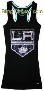 Womens LA Kings Stanley Cup Bling Sparkle Jersey Old School Chevy Logo Tank Top   eBay