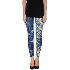 Galliano Leggings ($44) ❤ liked on Polyvore featuring pants, leggings, blue, colorful print leggings, blue print leggings, patterned leggings, blue pants and blue print pants
