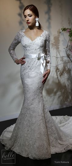 "With her Spring 2019 designer, Yumi Katsura is saying ""I do"" to beautiful floral inspired bridal gowns that whisper enchantment and celebrates romance. We are loving it! Yumi Katsura Wedding Dresses, Modest Wedding Dresses, Bridal Dresses, Wedding Gowns, Lace Wedding, Beautiful Gowns, Beautiful Bride, Bridal Collection, Dress Collection"