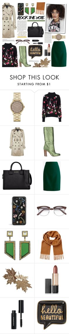 """Blogger"" by kumi-chan ❤ liked on Polyvore featuring Marc Jacobs, French Connection, Burberry, Michel Vivien, Karl Lagerfeld, J.Crew, Meghna Designs, Yves Saint Laurent, Estée Lauder and Bobbi Brown Cosmetics"