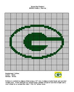 Green Bay Packers (Georgia) logo crochet chart ...someone who knows A LOT more about crocheting needs to help me with this!