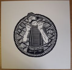 Young Salt - A sailor in the British Royal Navy & its champion bare knuckle boxer. Legend has it he once went 10 rounds with a giant squid!   Hand made, hand pulled linocut print.