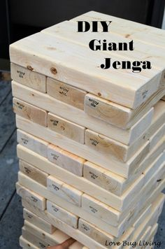 The post Love Bug Living: DIY Giant Jenga Outdoor Game Fun party game. appeared first on Outdoor Ideas. Fun Party Games, Diy Games, Party Ideas, Cookout Games, Camping Games, Free Games, Outdoor Parties, Outdoor Fun, Outdoor Jenga