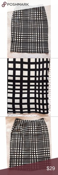 "{appraisal} Black & White Checked Pencil Skirt Adorable windowpane pencil skirt. Back zip and slit. Approx 25.5"" long. Location: B1 appraisal Skirts Pencil"